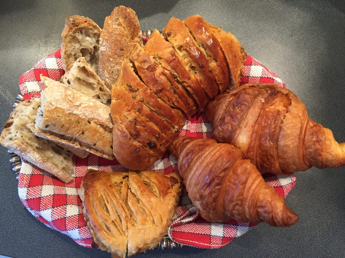 baguette croissants nut bread and chausson